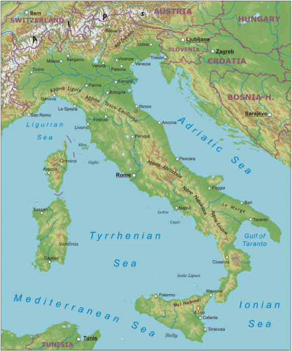 Map Of Italy With Mountains.Pictures Of Apennines Mountains Physical Map Rock Cafe
